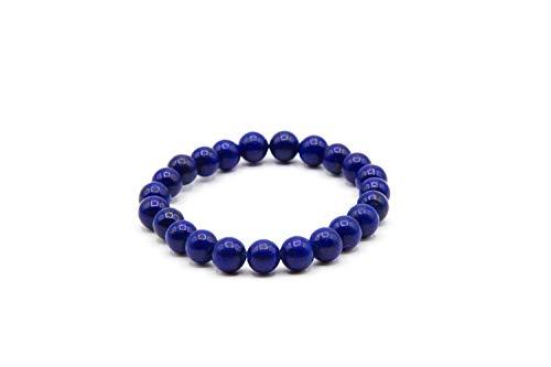 Pulsera Turmalina Azul [Piedra Natural] – Elimina Ansiedad Estrés, Protección Purificación Chakra Energía Positiva – Caja elegante Pulsera Mujer Pulsera Hombre