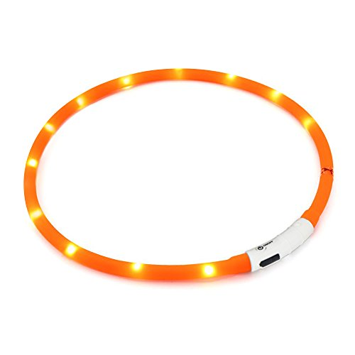 Hunde Leuchthalsband LED Halsband Hundehalsband Hunde, individuell kürzbar, USB aufladbar, Kabel im Lieferumfang enthalten (Orange)