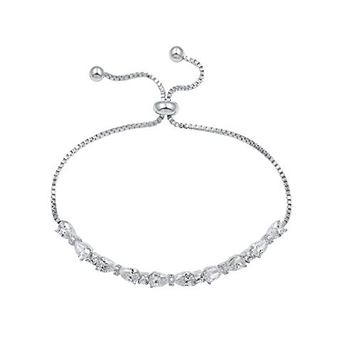 WeimanJewelry Real Gold Plated Adjustable Teardrop and Round Cut CZ Cubic Zirconia Bridal Chain Bracelet for Women (Silver)