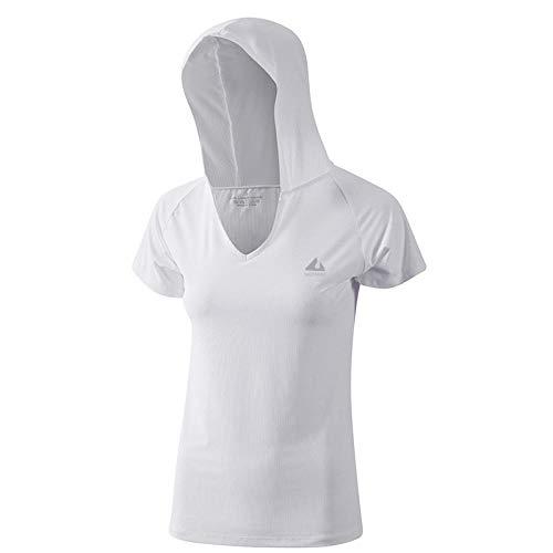 MAIMOMO Leggings Für Damen Fitness-Kleidung Weiblichen Sommertraining Kurzarm-Kapuzenbluse Locker Atmungsaktiv Einfarbig Sport-T-Shirt