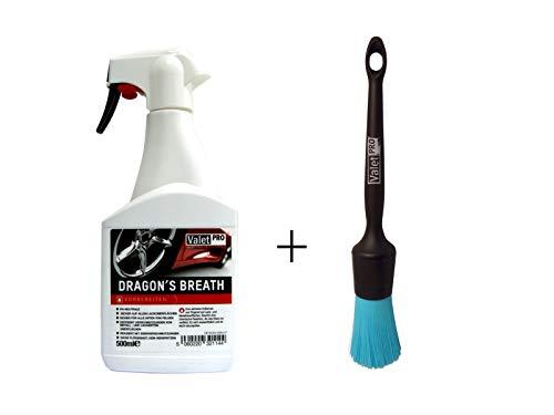 Preisvergleich Produktbild ck ValetPRO Dragon's Breath 500 ml - Felgenreiner + 1 Stück ValetPRO Black Handle Chem Resistant - Reinigungspinsel / entfernt Bremsstaub und andere Verschmutzungen