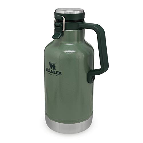Stanley Classic Easy-Pour Growler 1.9L / 64oz Hammertone Green – Insulated Growler | Keeps Beer Cold & Carbonated | Stainless Steel | Leakproof | Easy to Carry | Dishwasher Safe