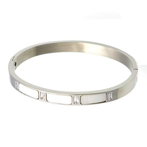 DBSUFV Pulsera de acero inoxidable con cáscara, brazalete de diamante, brazalete de titanio con personalidad, pulsera de moda