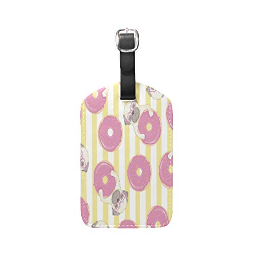 Moyyo Cute Pug Dog with Pink Donuts Luggage Tag Suitcase Tags Leather Travel Baggage Luggage Identify ID Tags Labels for Suitcases Luggage Tags with Privacy Cover