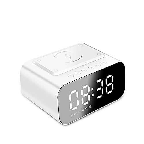 Reloj Despertador Digital con Carga Inalambrica LCD Pantalla Reloj Alarma Inteligente Simple con Snooze Sensor de luz FM Radio con Altavoz Bluetooth para Dormitorio Oficina,White