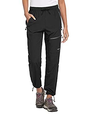 BALEAF Women's Hiking Cargo Pants Outdoor Lightweight Capris Water Resistant UPF 50 Zipper Pockets Black Size M