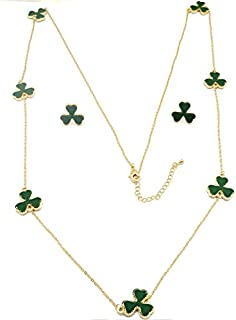Women's Golden Necklace with brilliant cubic stone set Clover Leaf design pendant and Ear rings, Green Color, 18k Gold plated