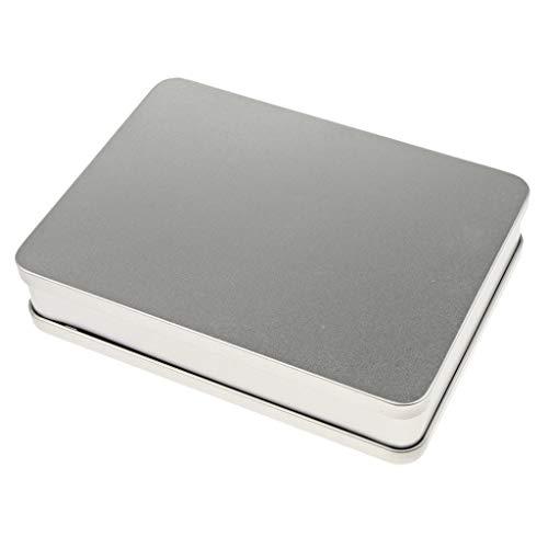 Homyl Boîte de Rangement en Métal Argent Rectangulaire Tin Rectangular Mini Boîte Portative Petit Kit de Rangement, Organisateur de Maison