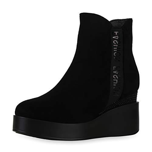 SCARPE VITA Damen Stiefeletten Leicht Gefüttert Plateau Boots Strass Schuhe Keilabsatz Kurzschaft-Stiefel Keilstiefeletten 197746 Schwarz 39