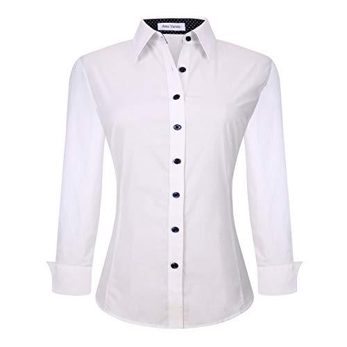 Alex Vando Womens Dress Shirts Regular Fit Long Sleeve Stretch Work Shirt,White,S