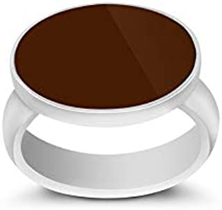 Malaki Silver Ring with Brown Stone for Men, Size, RSBR6