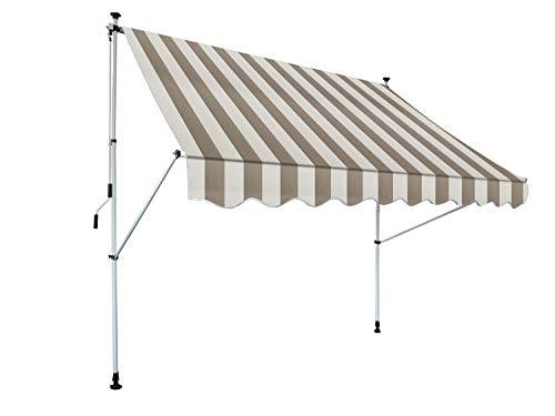 Gardinia Kurbeln, Sonnenschutz für Terrassen oder Balkone Klemm-Markise Föhr, beige-weiß, 250 x 150 cm