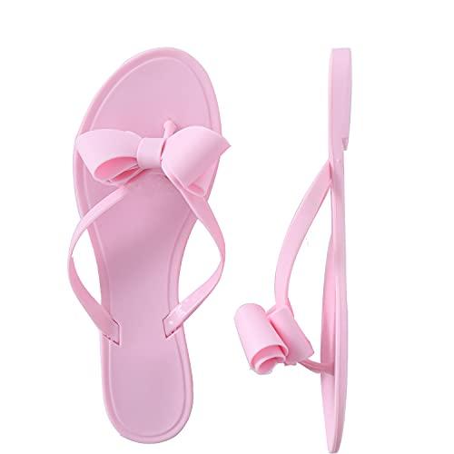 Shoe'N Tale Damen-Sandalen mit Schleife, Flip-Flops, schmaler Riemen, Pink - rose - Größe: 37 EU