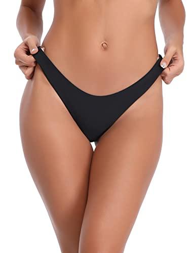 RELLECIGA Women's Black Super Cheeky Brazilian Cut Bikini Bottom Size Small