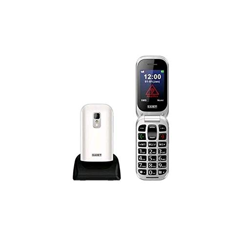 Saiet 13500771 Unico+ 2.4  Clamshell Tasti Grandi, Tasto SOS, Italia Senior Phone, Bianco
