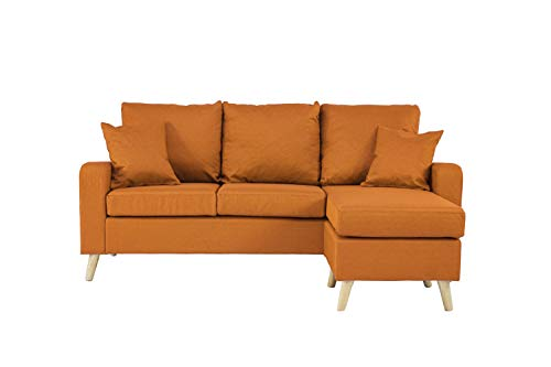 Divano Roma Furniture Mid Century Modern Linen Fabric Small Space Sectional Sofa with Reversible Chaise (Orange)
