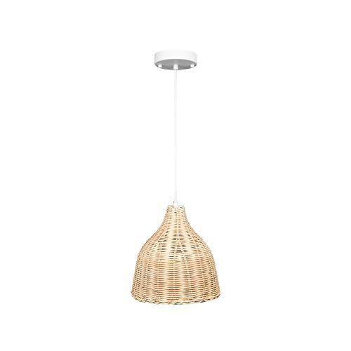 Illux de México Lámpara de bambú colgante, estilo rustico, mimbre, ideal para salas y restaurantes, luz cálida, DL-2404.MB