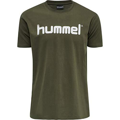 hummel Camiseta HMLGO Cotton Logo T-Shirt S/S, Hombre, Camiseta, 203513, marrón, Large
