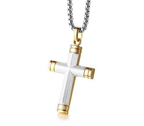 VNOX Zweifarbige Edelstahl Texturiert Vergoldet Christian Taufe Jesus Kreuz Anhänger Halskette für Männer, 24