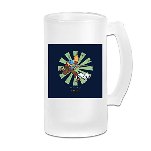 Gedruckte 16oz Milchglas Bier Stein Tasse Tasse - Tim und Struppi Retro Japanisch - Grafikbecher