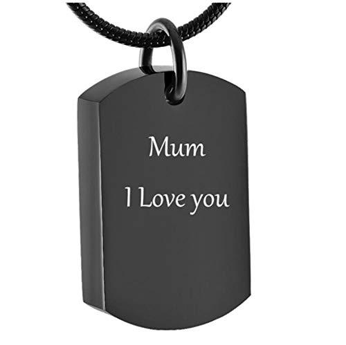 Wxcvz Collar para Cenizas Collar De Urna De Cremación De Cubo Negro, Joyería Conmemorativa para Recuerdo De Urna, Colgante De Medallón Grabado Gratis Unisex De Acero Inoxidable