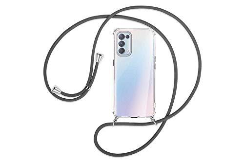 mtb more energy® Handykette kompatibel mit Oppo Find X3 Lite (6.43'') - dunkelgrau - Smartphone Hülle zum Umhängen - Anti Shock Full TPU Hülle