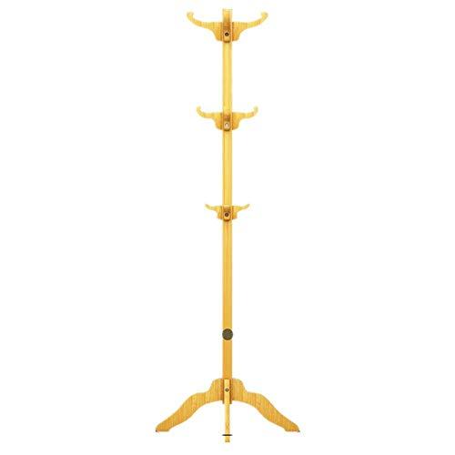 LIPENLI Perchero de madera de árbol perchero estante, 12 ganchos con patas soporte de la capa, la capa Pasillo Percha Sombrero soporte, chasis de cuatro esquinas (Color: Caqui, Tamaño: 55 x 55 x 169cm