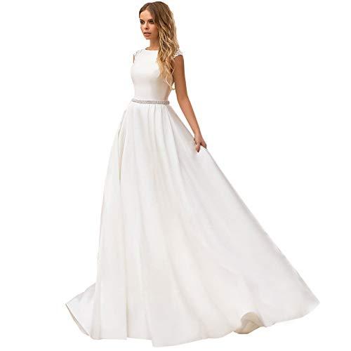 Dames trouwjurk, lange staart bruidsjurk voor vrouwen, diepe V-hals bruid avondjurk