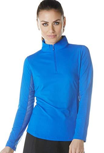 IBKUL Damen Sonnenschutz-Top, LSF 50+, kühlend, langärmelig, Mock-Neck, 80000, blau, einfarbig, M