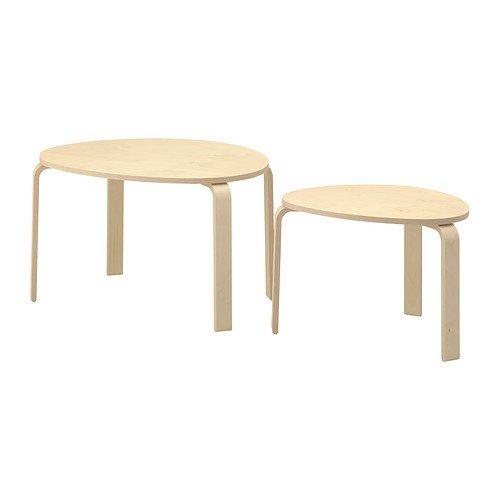 Ikea SVALSTA - Juego de 2 mesas de madera de abedul
