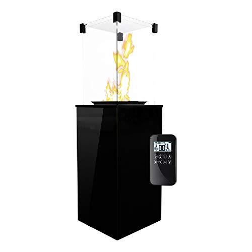 KRATKI Gaskamin PATIO MINI | 4-8,2kW | 1366x427mm | Schwarz | Gartenkamin mit Fernbedienung | Flüssiges Gas Leitung | Gasfeuerstelle für Terrassen | Outdoorkamin ideal als Wärmelampe & Außenkamin