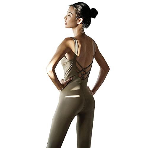 qqff Mujer Chándales Ropa Running Fitness Entrenamiento,Mono Yoga para Mujer,Traje Fitness Secado rápido,Traje Entrenamiento Danza-Verde,L,Conjunto Deportivo Mujer Secado Rápido Yoga