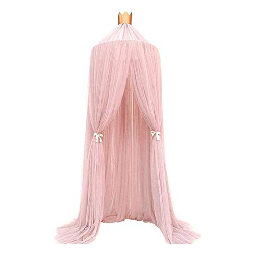 GAKIN Cúpula Mosquitera para cama con dosel de lino redondo de encaje para niños, color rosa