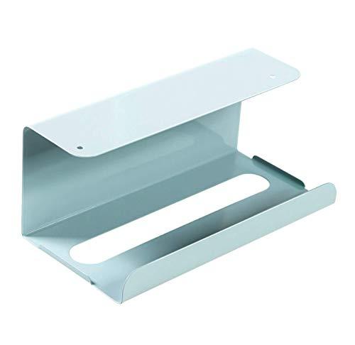 ティッシュケース・ホルダー キッチンペーパーホルダー ステンレス製 ペーパータオルケース 吊り下げ 壁掛け 取付簡単 ライトブルー