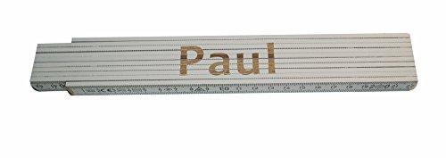 Persönlicher Zollstock / Meterstab weiß mit Gravur Paul