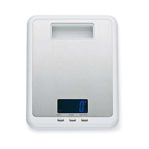 Kela 11546 Digitale Küchenwaage, Edelstahl, 1 g-Feineinteilung, Tara-Funktion, Bis 5 kg Gewicht, Primus, Weiß