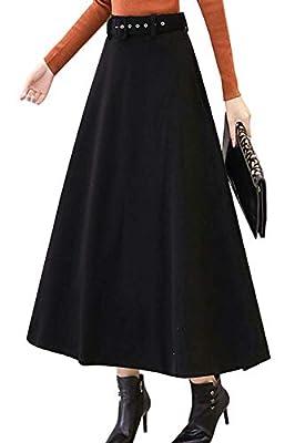 Flygo Women's Winter Fall High Waist A Line Flared Wool Long Midi Skirt with Belt