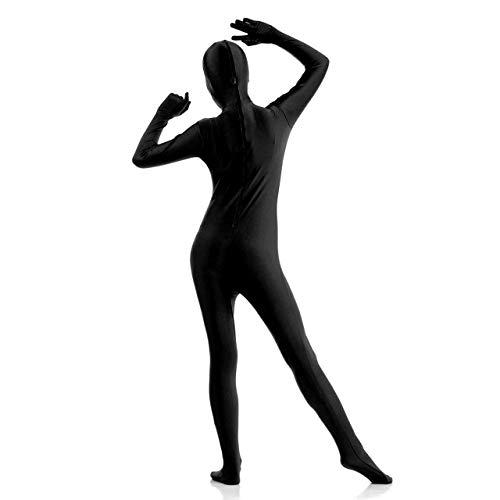 Faletony S-XXL Erwachsene Zentai Cosplay Bodysuit Ganzkörperanzug Unisex Tight Bodysuit Kostüm für Party Halloween Weihnachten, Schwarz (XXL)