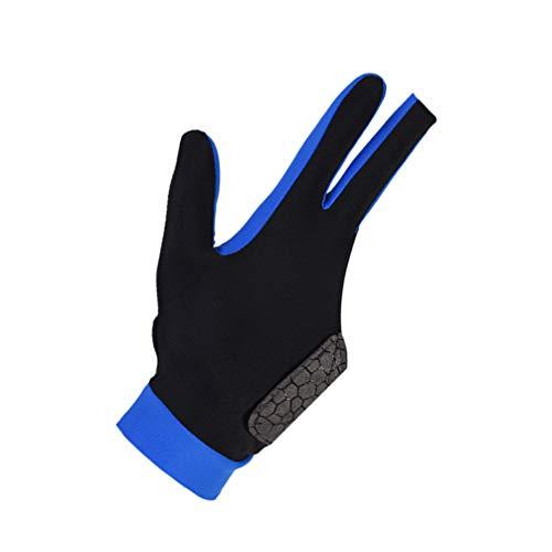 Healifty 3 Finger Billard Handschuhe Snooker Queue Professionelle Handschuh Zeigen Pool Queue Handschuhe Sport Glovefor Links Rechts Hand Größe L (Blau)