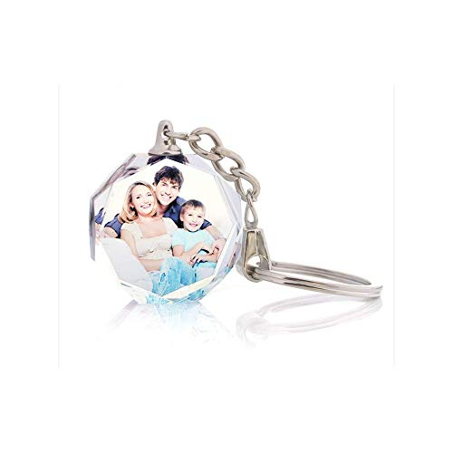 Vosfast Customized Crystal Key Chain LED Light 3D Laser Engraved Key Rings for Wedding Anniversary Christmas Holiday-Octagont