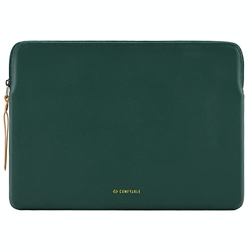 Comfyable Slim Protective Laptop Sleeve 13-13.3 Inch Compatible with 13 Inch MacBook Pro & MacBook Air, PU Leather Bag Waterproof Cover Notebook Computer Case for Mac, Green