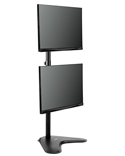 "VIVO Dual Monitor Desk Stand Free-standing LCD mount, Holds in Vertical Position 2 Screens up to 30"" (STAND-V002L)"