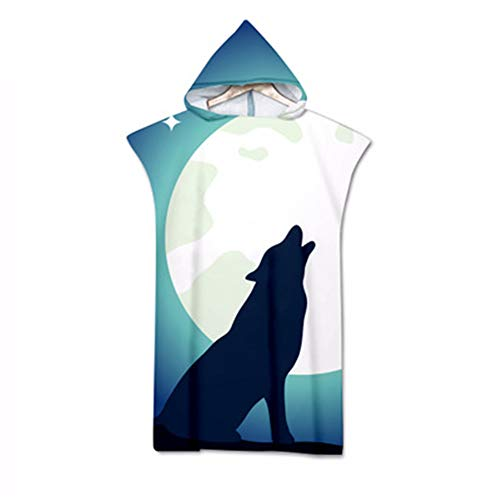 Treer Badeponcho Strand Poncho Strandtücher Handtuch, Poncho mit Kapuze Schnelltrockend 3D Wolf Bademantel Badetuch Duschtücher Für Umziehhilfe beim Wassersport (Flash Star,75x110cm)