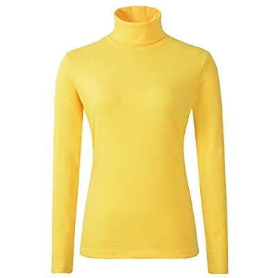 HieasyFit Women's Cotton Basic Thermal Turtleneck Pullover Top(Bright Yellow S) by