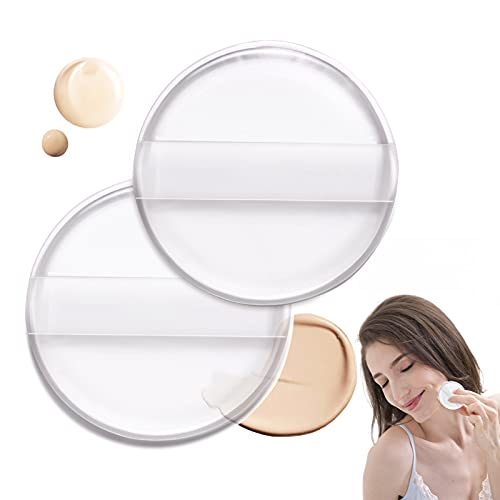 2PCS Silicone Air Cushion Powder Puff Transparent Cosmetic Blender, Easy to Clean and Apply Makeup Wet and Dry Use with Environmentally Material High Elastic Cosmetic Tool for Women Girls