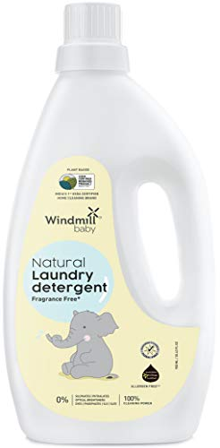 Windmill baby Natural Plant Based Laundry Detergent, USDA Certified, Allergen Free, Gentle with Bio-Enzymes, Fragrance Free - 900ml