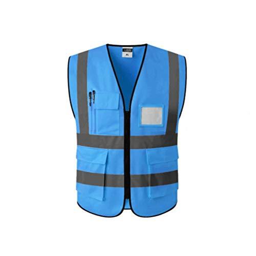 ZNZN Reflectante Chaleco de Seguridad, Chaleco for la construcción de Alta Visibilidad Reflectante y Transpirable Ropa de Trabajo con Bolsillos y Cremalleras Chalecos de Seguridad (Color : Blue L)