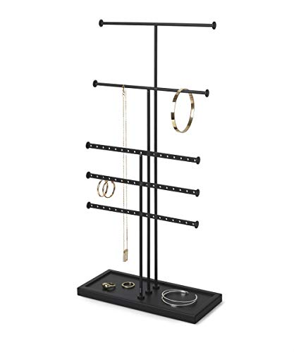 Umbra Trigem Hanging Organizer – 5 Tier Table Top Necklace Holder, Box Display with Jewelry Tray Base, Black/Black