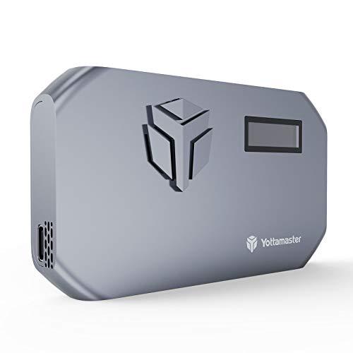 Yottamaster Caja M.2 NVMe SSD, con Ventilador y Temperatura de LED, USB3.1 Tipo C Externo Adaptador M.2 NVMe para M-Key y M+B Key 2230/2242/2260/2280 SSD, Compatible con UASP [MS3]