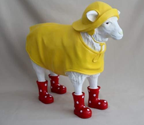 Vamundo Lustiges Deko Schaf mit Friesennerz und Gummistiefel rot - XXL - wetterfest für Innen und Außen